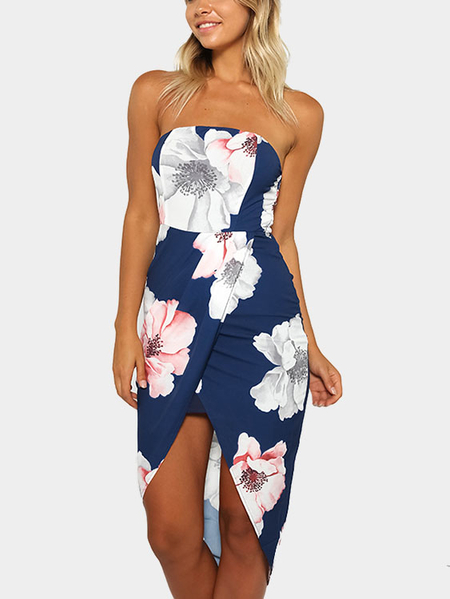 Sexy Off Shoulder Random Floral Print Wrap Front Dress