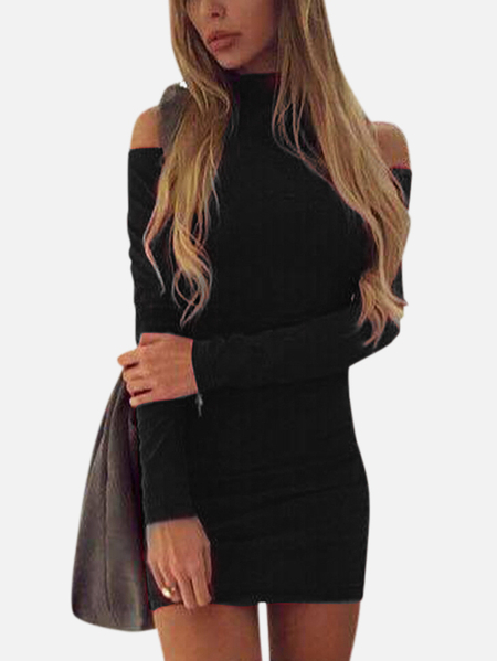 Casual High Neck Cold Shoulder Mini Dress in Black