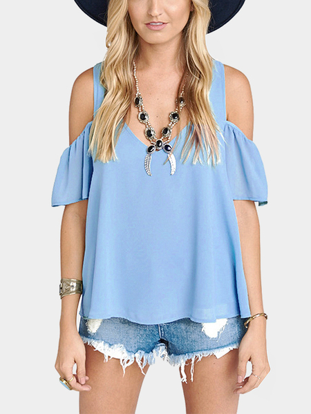 Blue V-neck Cold Shoulder Causal T-shirt