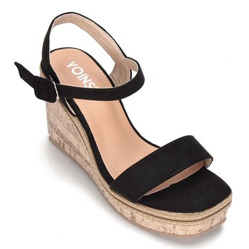 Black Suede Look Faux Wood Sole Wedge Sandals