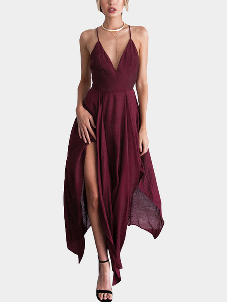 Dark Red Sexy V-cuello Backless sin mangas irregular Hem Maxi vestido