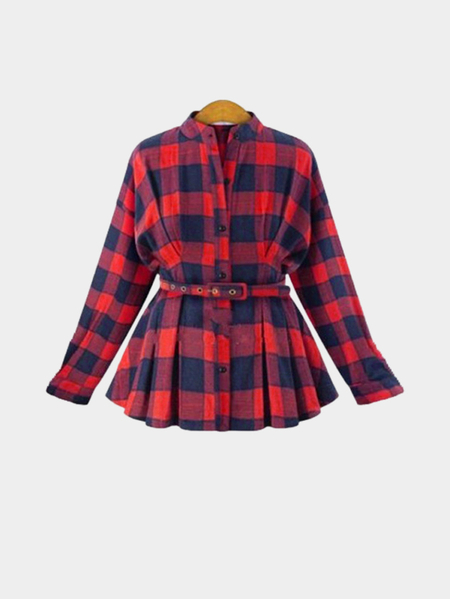 Red Basic Collar Button Frente Grade Pattern camisa com cintura Blet