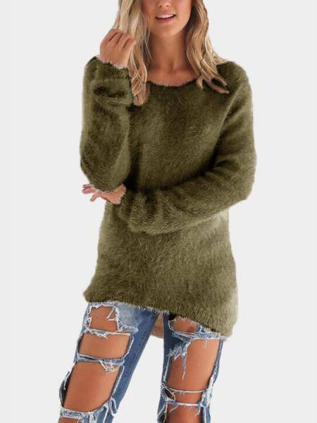 Armygreen Round Neck Long Sleeves Sweater Top