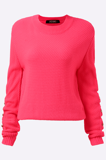 Pullover Plain Red Color Hollow Out Sleeves Detail Sweater - US ...