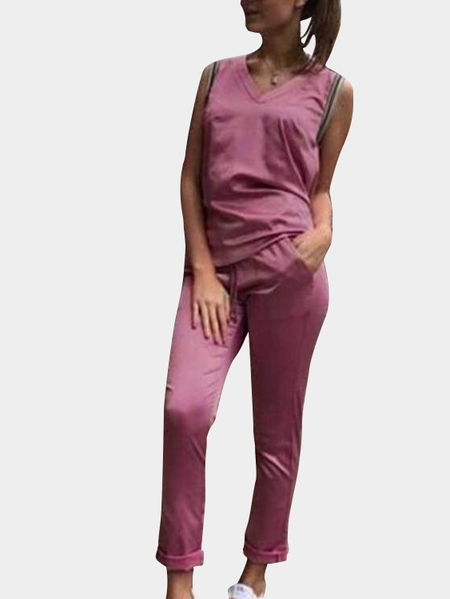 Active V-neck Quick Drying Sleeveless Tracksuit in Dark Pink