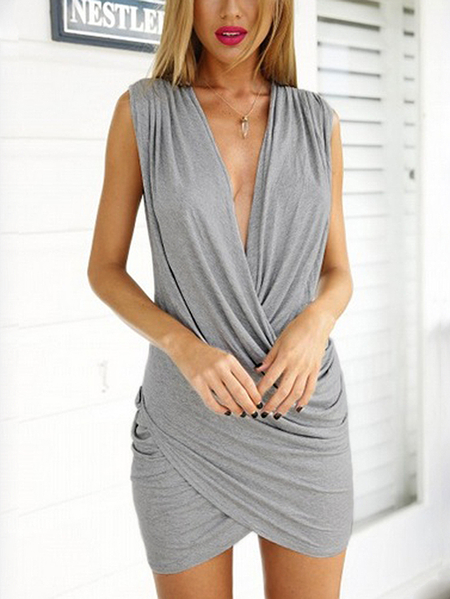 Grey Crossed Front Design Pleated V-neck Sleeveless Sexy Dress