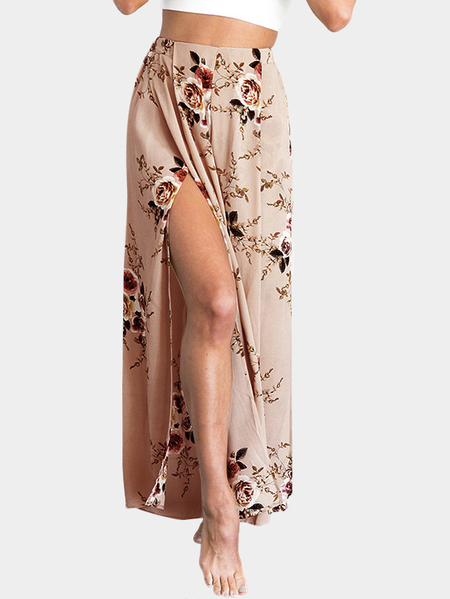 Random Floral Print Side Slit Wide Leg Trousers