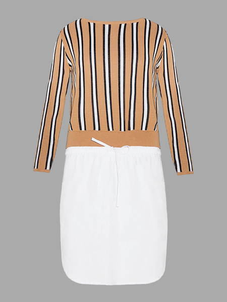 Stripe Side Split Top de punto y dobladillo curvado Midi Skirt Co-ord