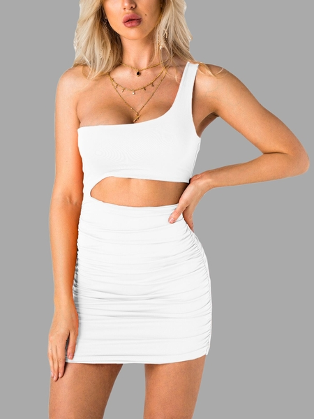 White Cut Out One Shoulder Sleeveless Bodycon Dress