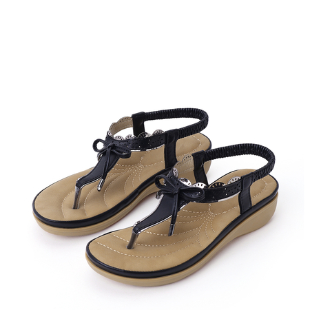 Black Soft Bowknot Design Flat Sandals