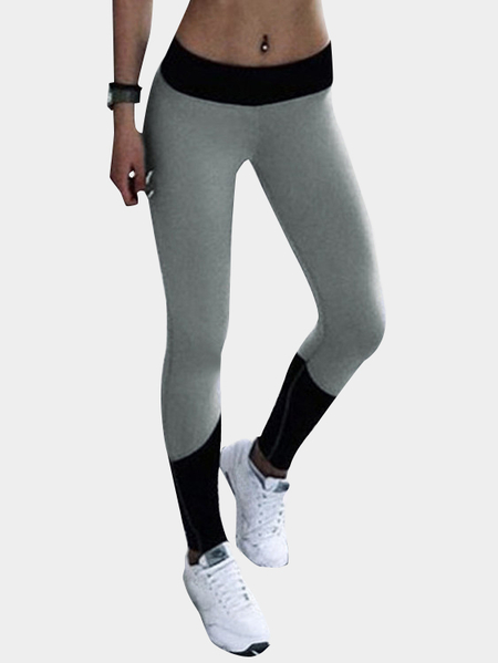 Black & Grey Casual Color Block Casual Leggings
