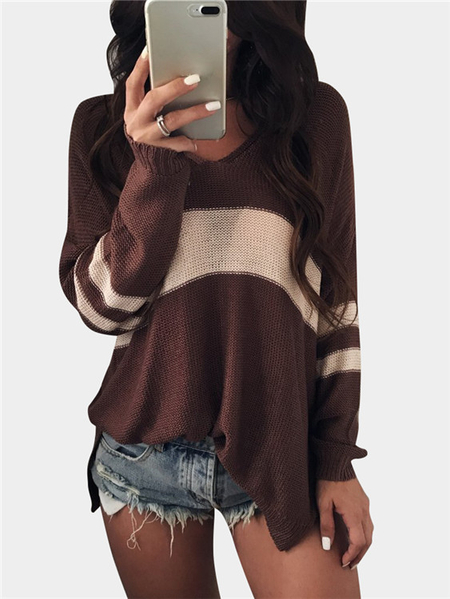 Brown V-neck Long Sleeves Slit Hem Sweaters