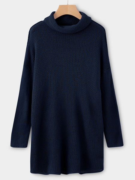 Dark Blue Roll Neck Long Sleeves Sleeves Dropped Shoulder Sweater