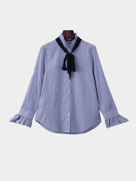 Stripe Pattern Button Closure Pleats Neck Shirt
