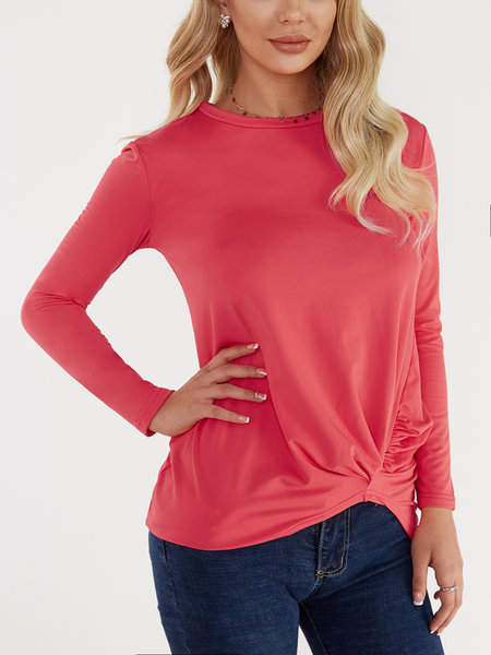 Red Round Neck Long Sleeves Irregular Hem T-shirt