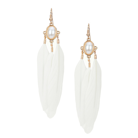 White Feather and Artificial Pearl Drop Earrings