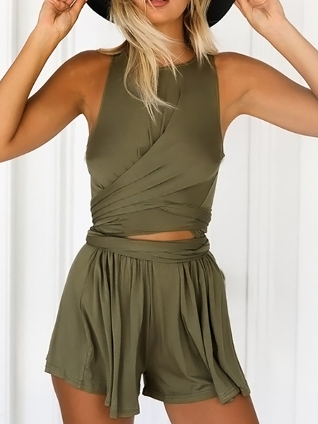 Sweet Drawing Waist Cross Front Playsuits in Army Green