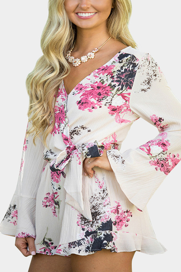 Self-tie Floral Print V-neck Long Sleeves Chiffon Wide Leg Playsuit