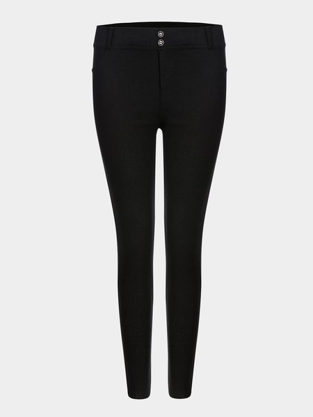 Black Simple Ladies Style Fashion Leggings
