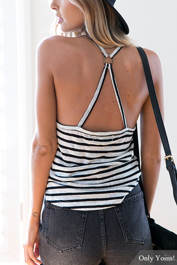 Sexy Stripe Pattern Halter Neck Backless Top