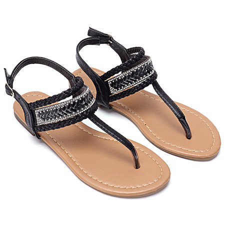 Black Boho Jewerly Knitted Flat Sandals