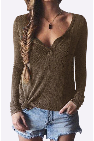 Brown Plunge Casual Design Blusa con mangas largas