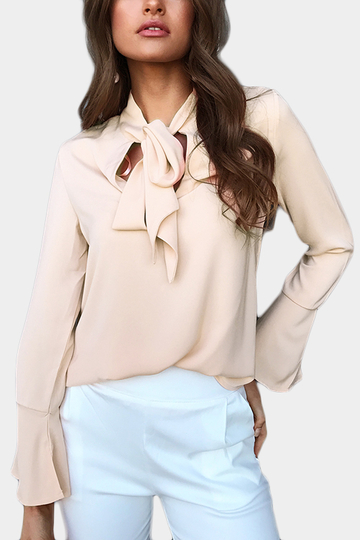Nude Self-tie Design Bell Sleeves Chiffon Blouse
