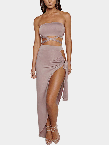Nude Sexy Self-tie Top & Splited Design Skirt Two Piece Outfits