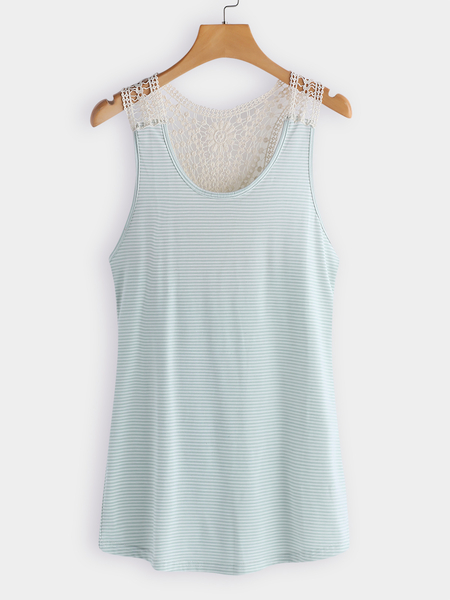 Cream Lace Details Stripe Round Neck Cami