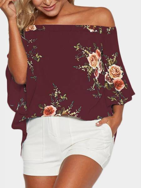 Random Floral Print Off Shoulder Splited Blouse in Burgundy