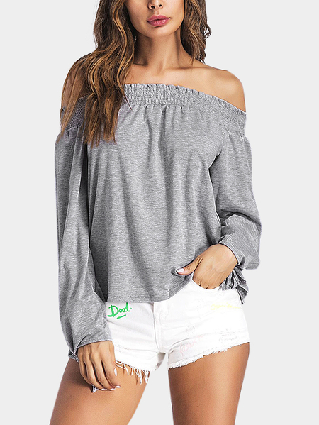 Light Grey Tie At Cuffs Off Shoulder Long Sleeves Blouse