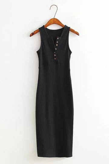 Black Sexy Sleeveless Buttons V Neck Side Slit Dress