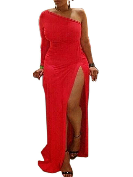 Plus Size Red One Shoulder Party Dress with High Thigh Split