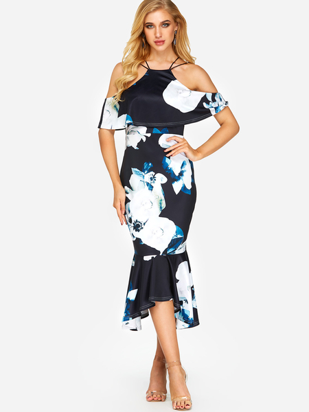 Black Backless Random Floral Print Halter Cold Shoulder Flounced Hem Dress