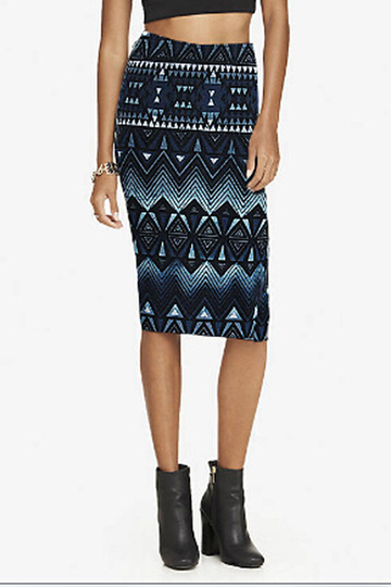 Pencil Midi Skirt in Geometric Pattern