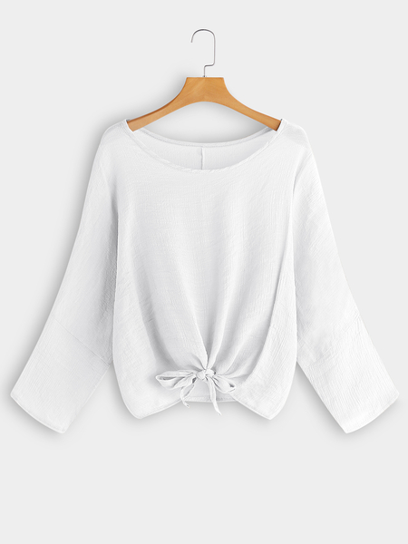 White Round Neck Long Sleeves Knot Front Blouses