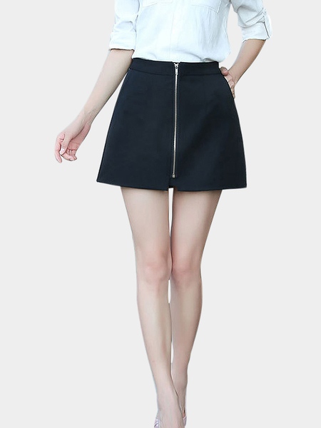 A-line Mini Skirt With Zip Front in Black