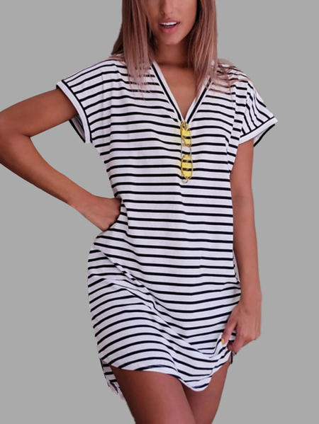White & Black Stripe V Neck Casual Dress With Curved Hem