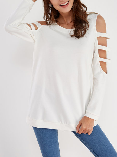 White Casual Round Neck Cold Shoulder Top