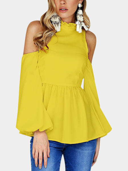 Yellow High Neck Cold Shouder Frill Details Top