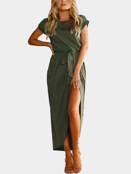 Army Green Short Sleeves Splited Hem Maxi Dress