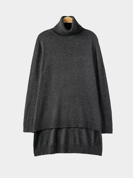 High Roll Neck Sweater with Step Hem