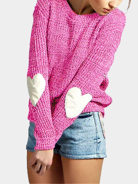 Rose Round Neck Love Patchwork Sweater