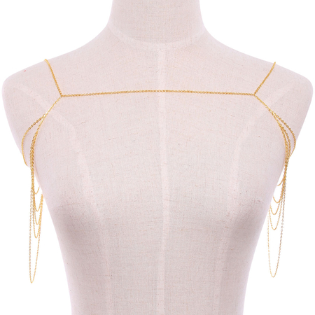 Corrente de Ouro Multilayer Drape Corporal