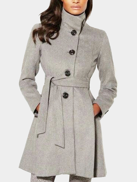 Grey High Neck Skinny Coat with Self-tie Waist