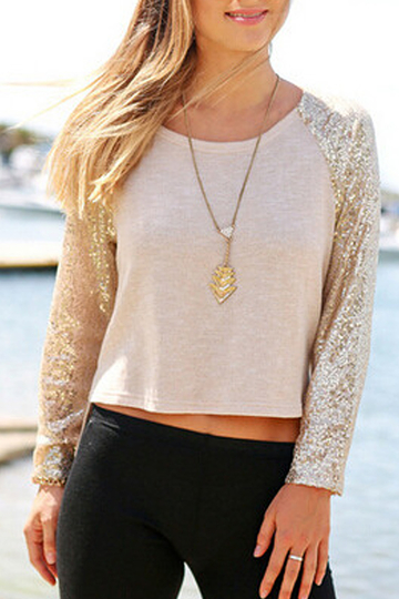 Side Split Sequin Sleeves Top with High Low Hem