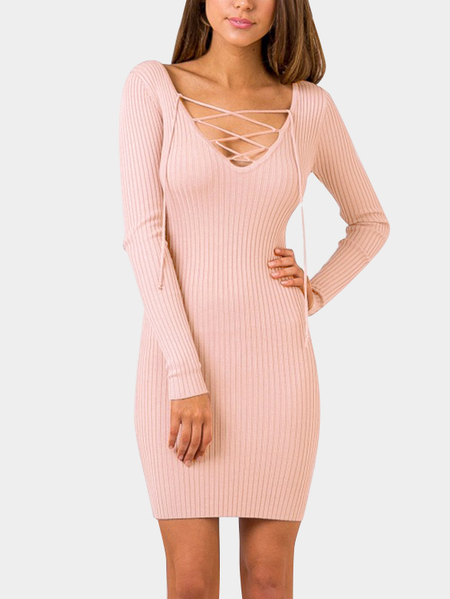 Pink Bodycon Deep V cuello de encaje hasta Strape Front Party Dress
