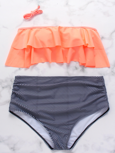 Orange Halter Ruffle Overlay High Waist Stripe Bikini Set