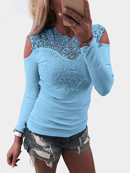 Blue Lace Details Cold Shoulder Long Sleeves Causal T-shirt