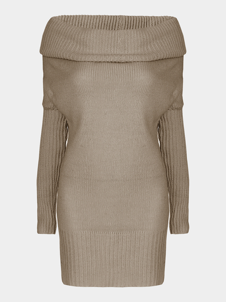 Khaki Chunky Off Shoulder Long Bat-wing Sleeve Casual Sweater Dress
